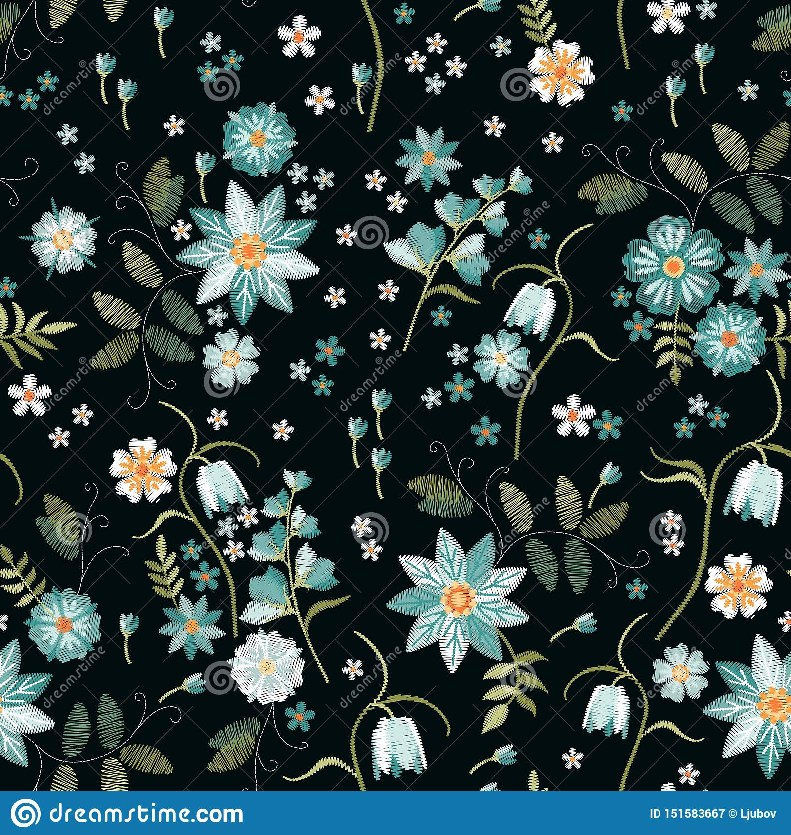 Embroidery seamless pattern with beautiful light blue wild flowers. Spring print. Fashion design
