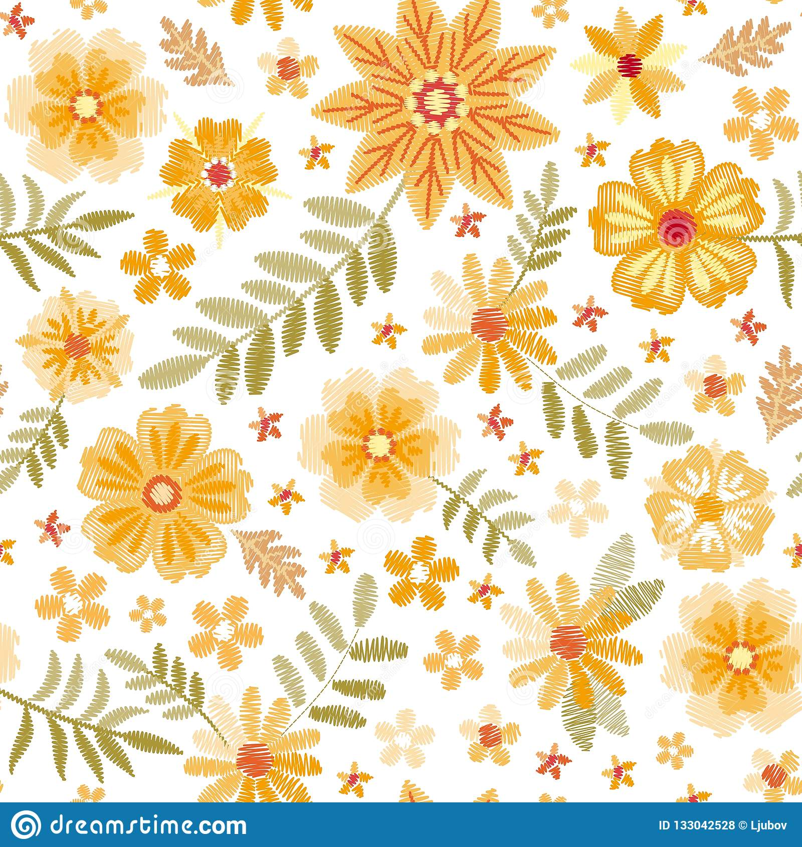 Embroidery Seamless Pattern With Cute Yellow Flowers And Green