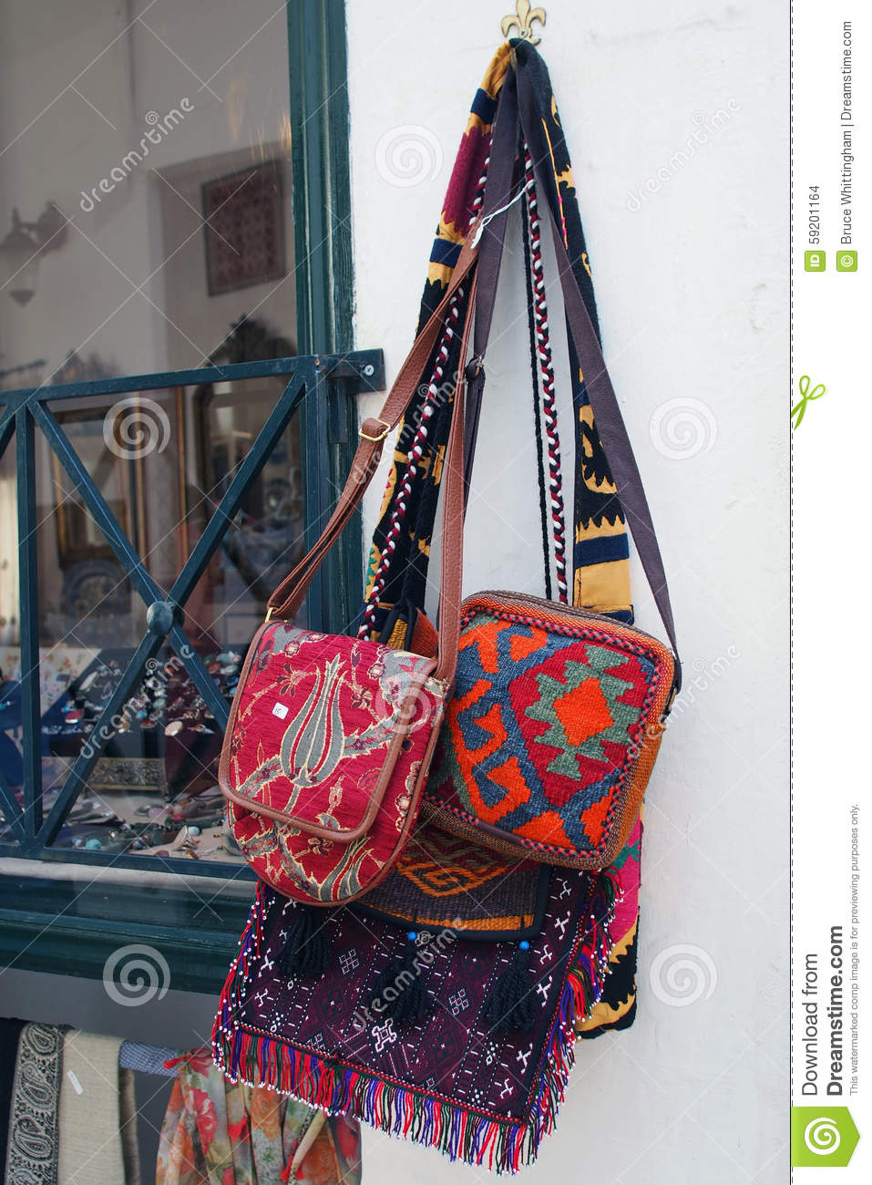 Embroidery Shoulder Bags, Greece Stock Photo - Image of