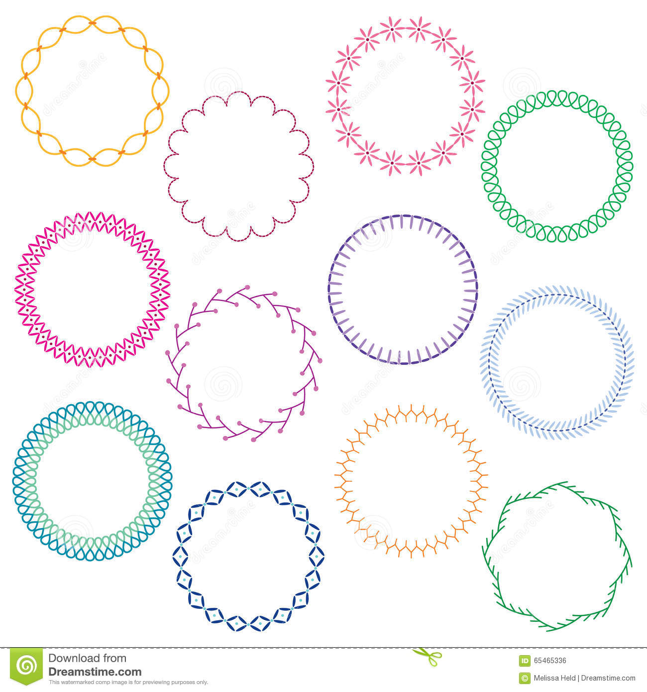 Embroidery stitched circle frames stock illustration