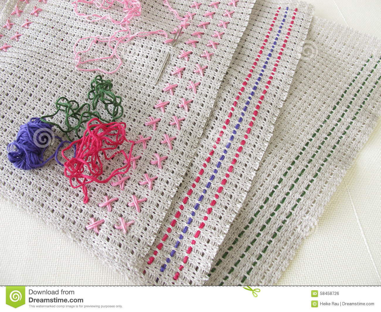 Embroidery stitches on canvas stock photo image of cross