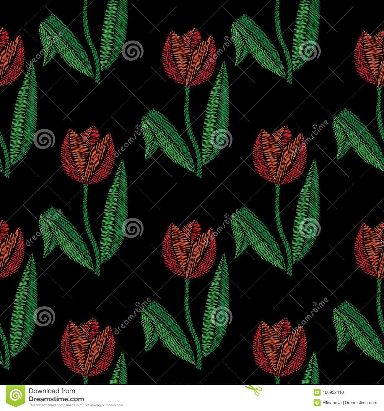 Embroidery Stitches Imitation Seamless Pattern With Little Tulip