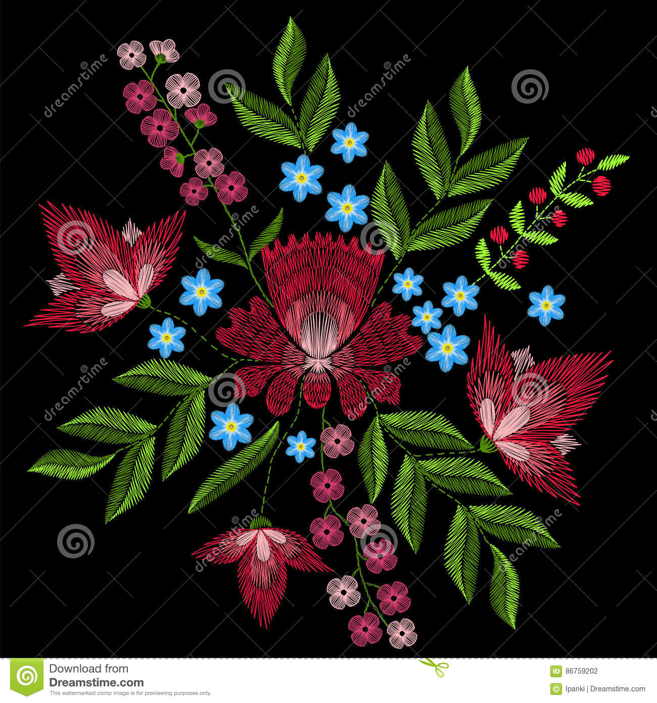 Embroidery Stitches With Pink Flowers  Vector Fashion Ornament O