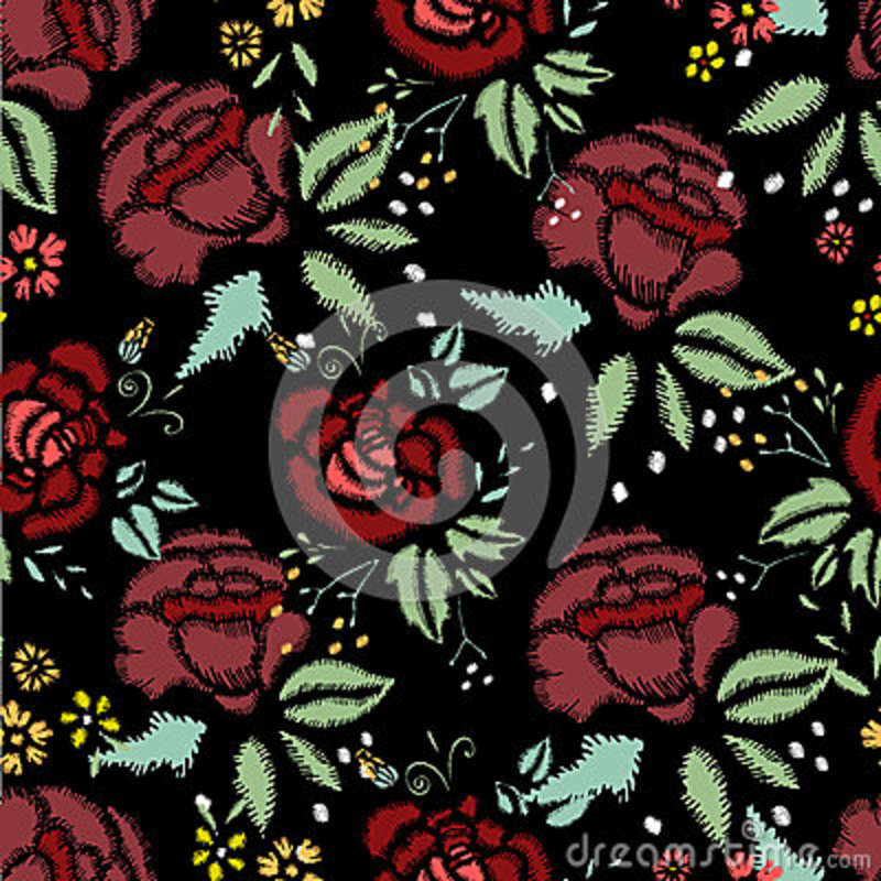 Embroidery Stitches With Roses, Seamless Pattern Stock Vector