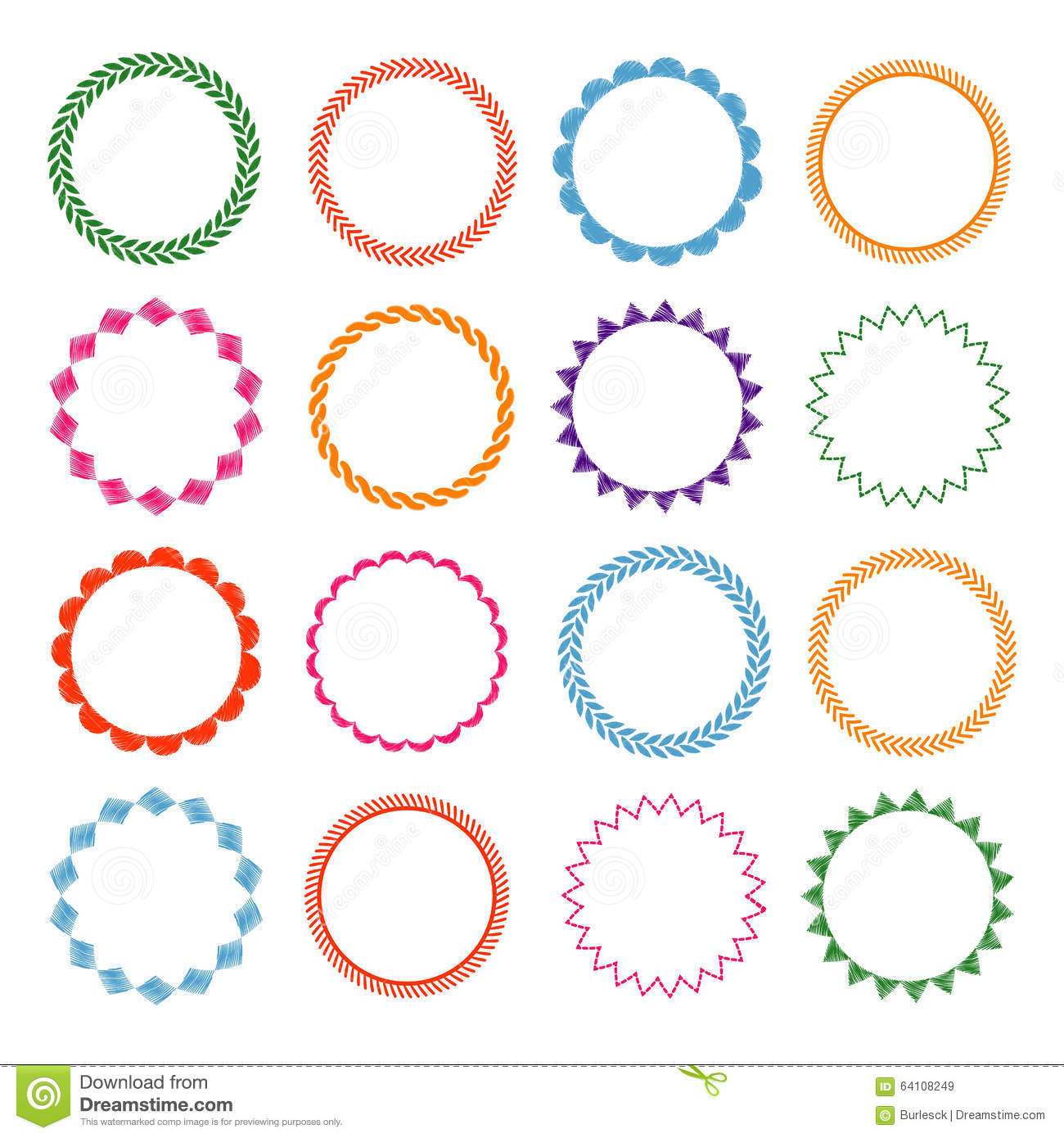 Embroidery stitches vector circle frames set stock