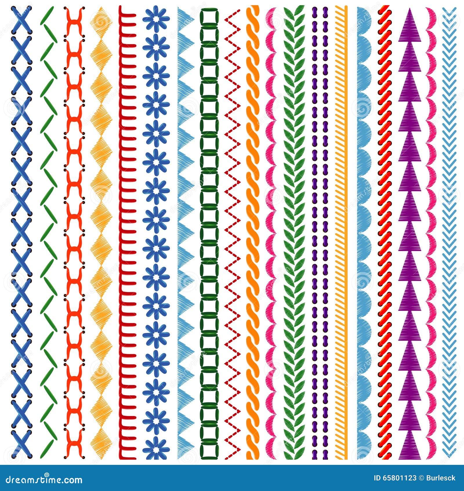 Embroidery stitches vector makaroka