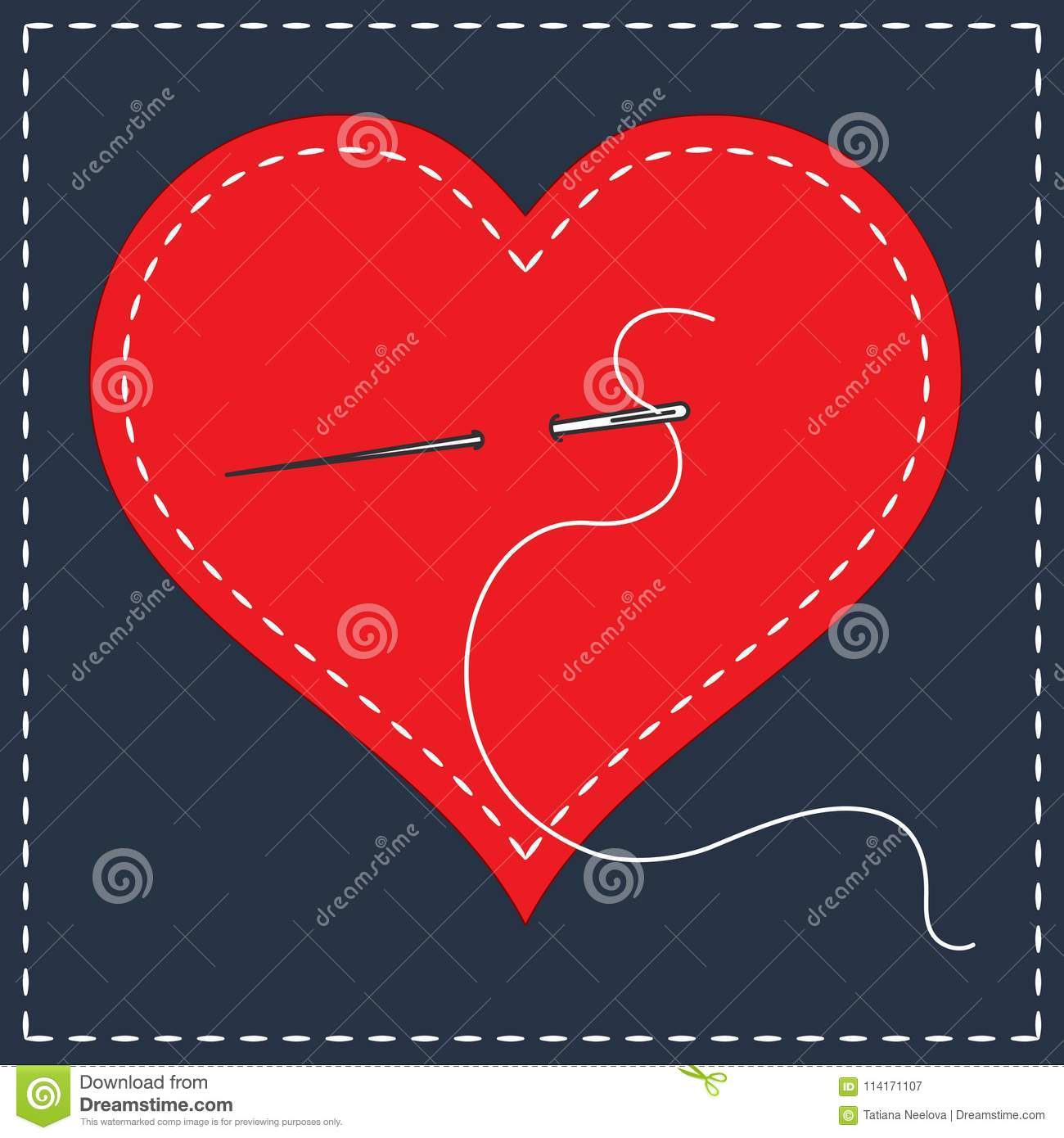 Embroidery Stylization With Stitches A Vector Illustration Of