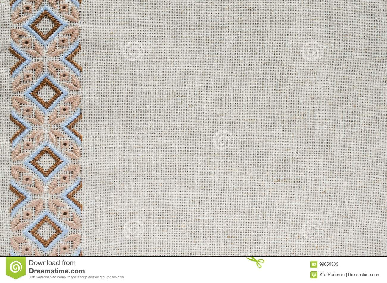 Embroidery Texture Flat Stitch. Stock Image - Image Of Fabric Beige 99659833