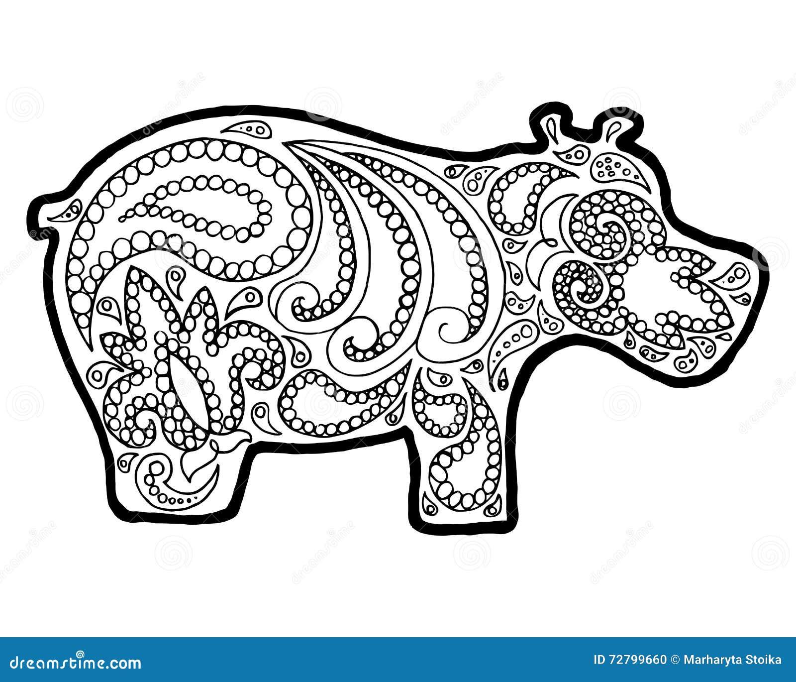 Embrouillement De Zen D Hippopotame Griffonnage Animal De