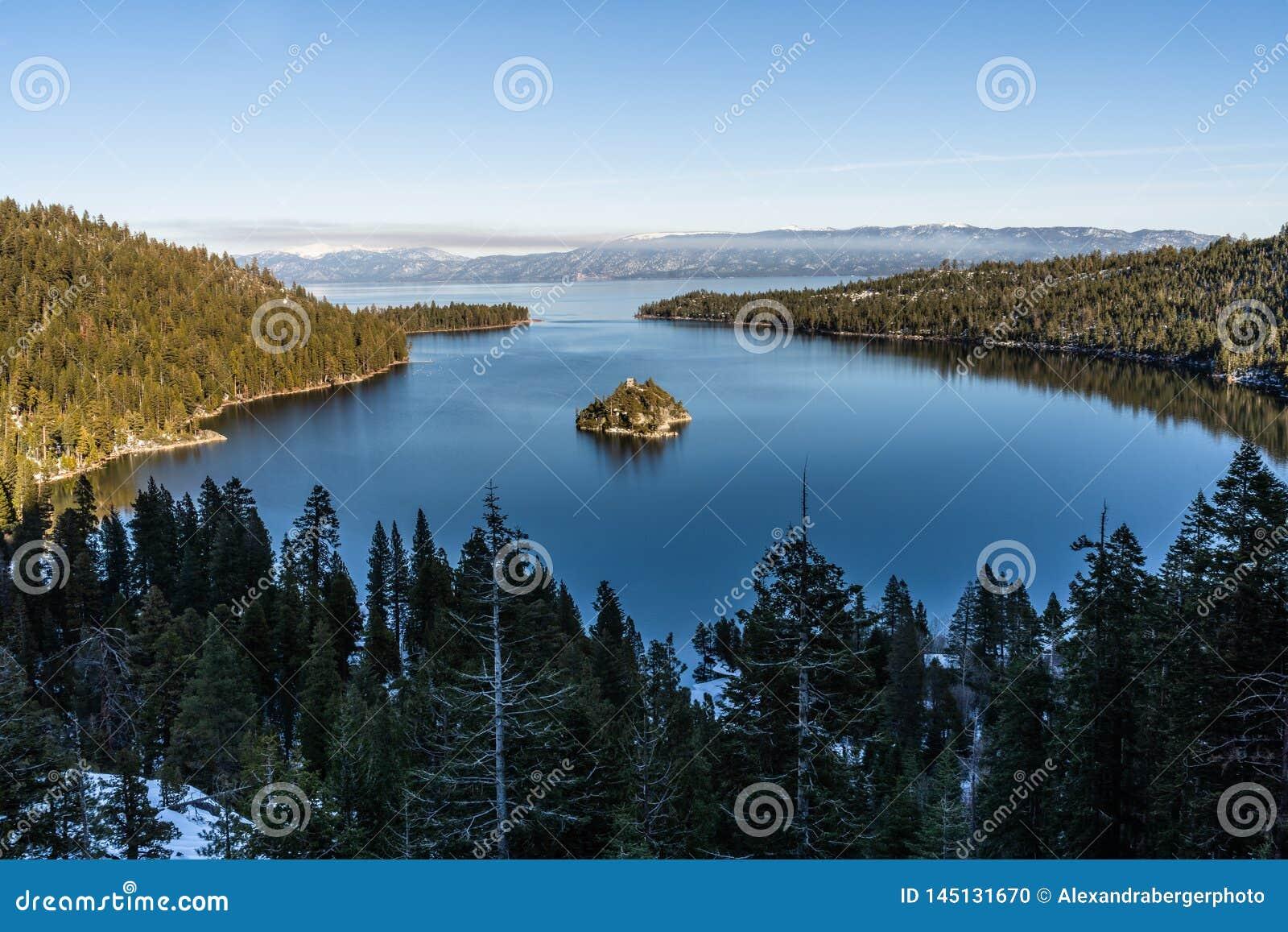 Emerald Bay och Fannette Island, Lake Tahoe, Kalifornien, USA