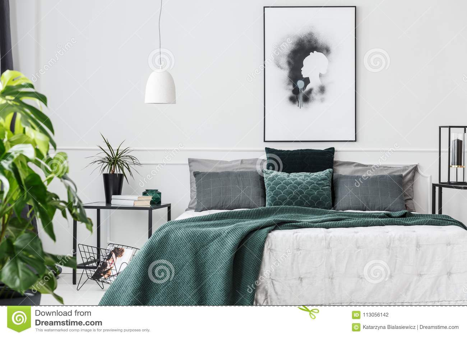 Emerald Green Elegant Bedroom Interior Stock Photo - Image of ...