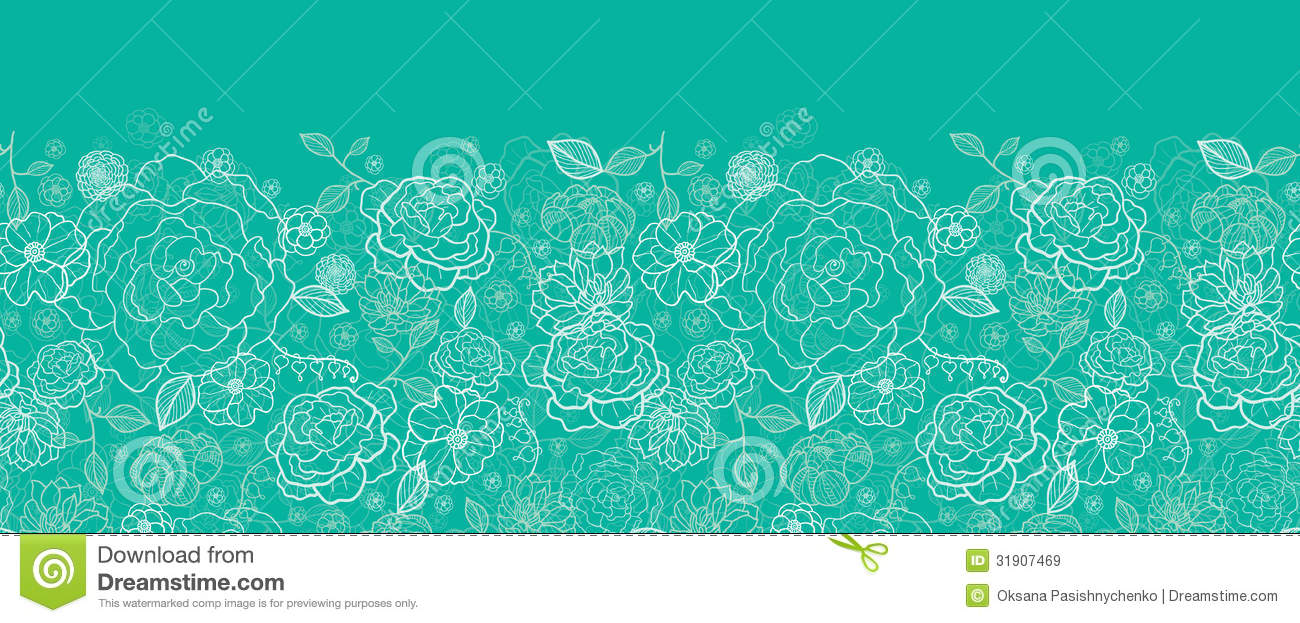 Rose outline vector image - Emerald Green Floral Lineart Horizontal Seamless Royalty