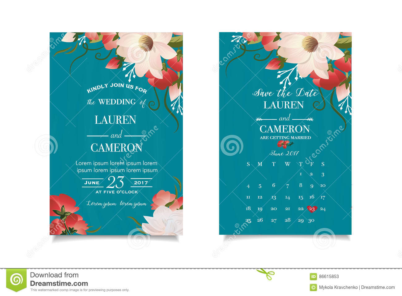 Emerald Green Invitation Card With Matched Date Wonderful Floral