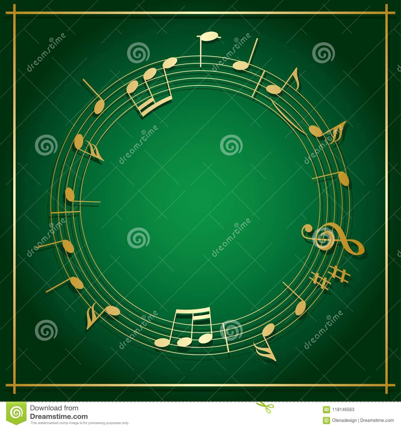 Download Emerald Green Vector Background With Round Music Frame