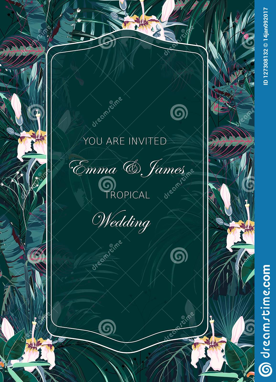 Emerald Tropical Wedding Invitation Greenery Greeting Card