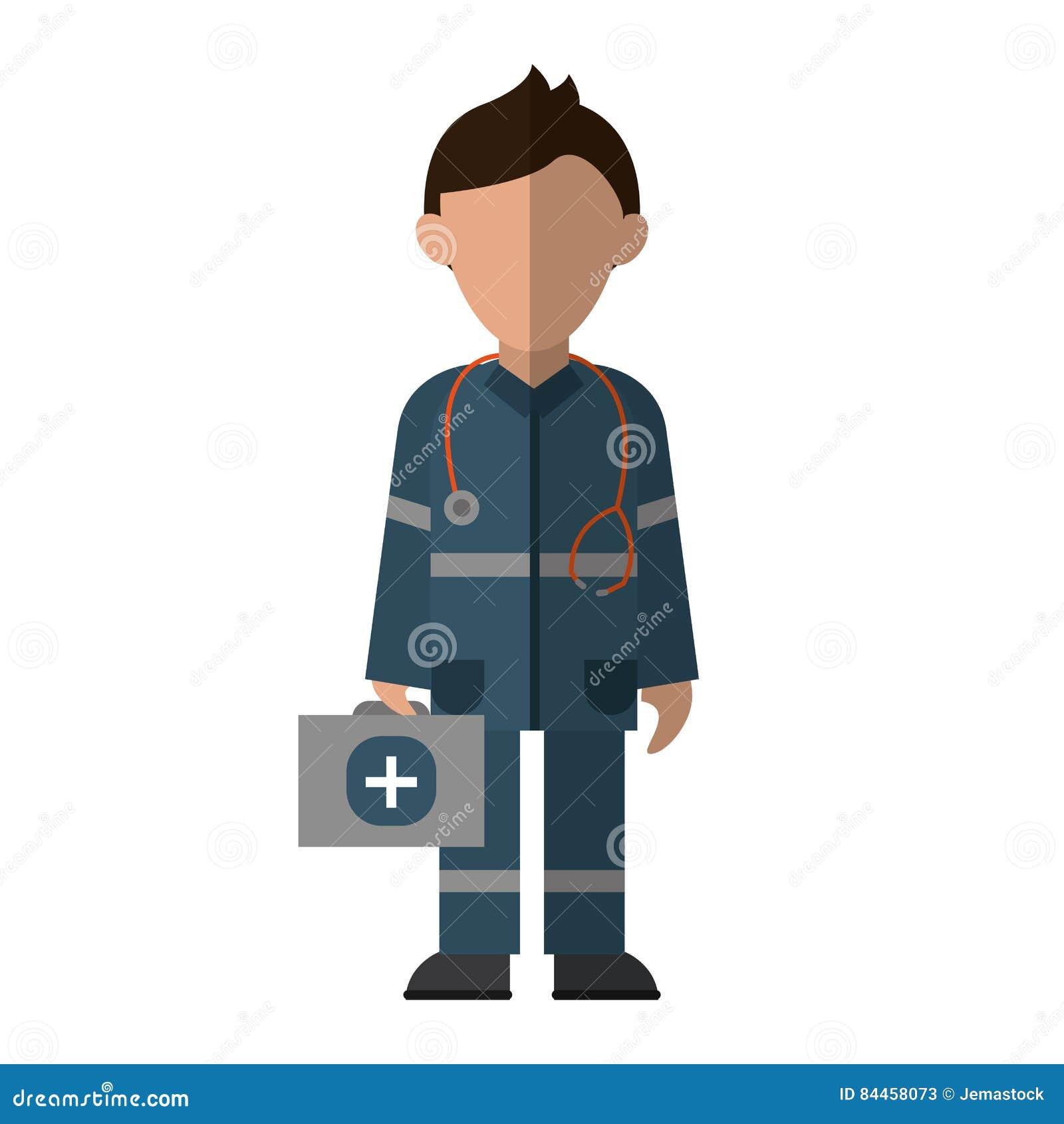 9239c2d3e7145 Emergência uniforme dos primeiros socorros do jogo do estetoscópio do  caráter do paramédico