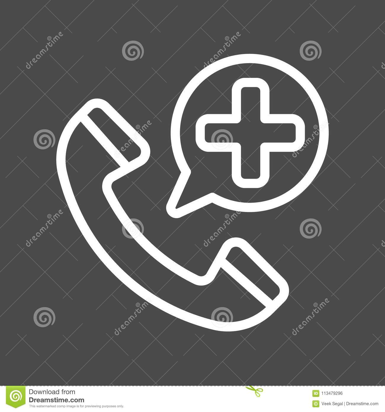 Emergency Call Filled Outline Icon, Medicine And Healthcare