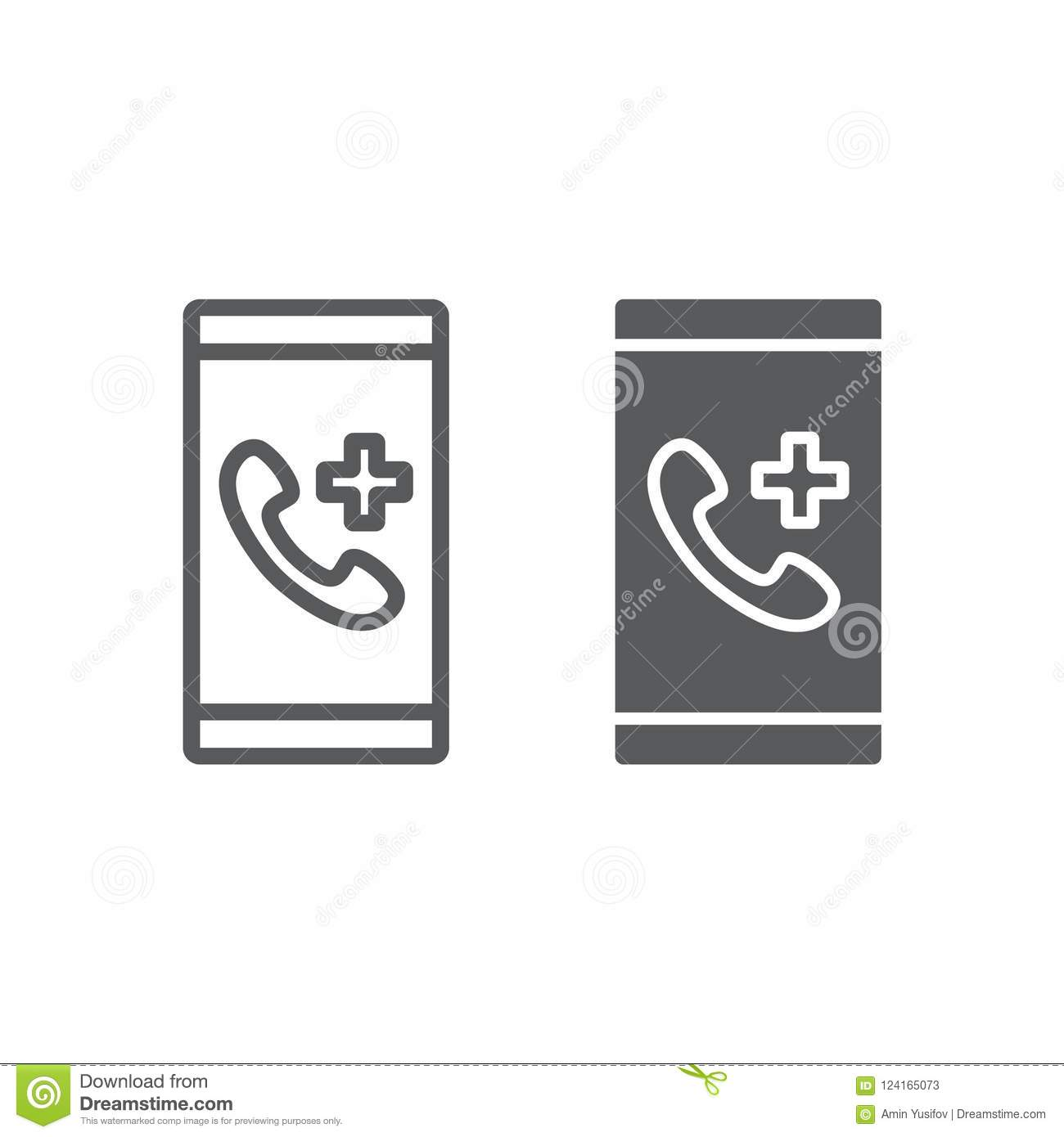 Download Emergency Call Line And Glyph Icon Medical Stock Vector