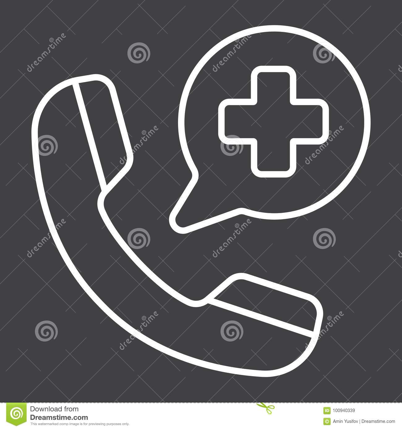 Emergency Call Line Icon, Medicine And Healthcare Stock