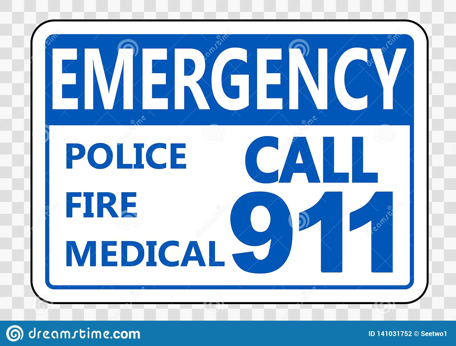 Symbol Emergency Call 911 Sign On Transparent Background