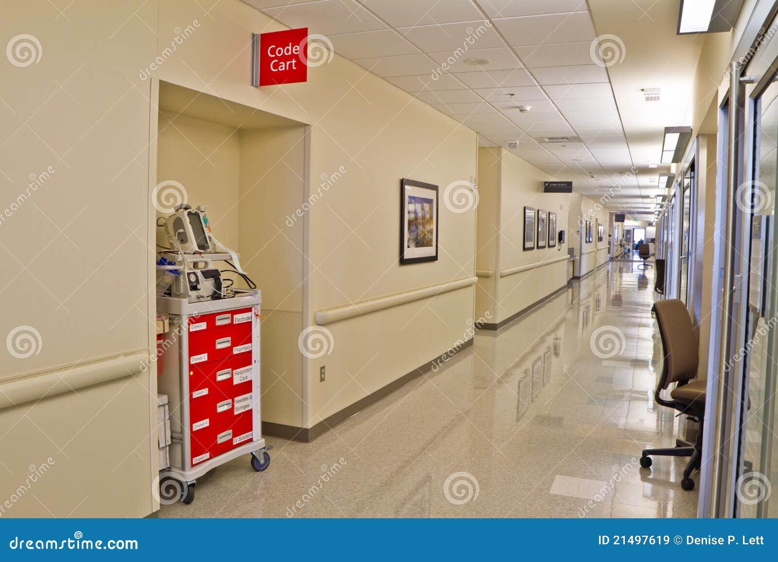 Emergency Code Cart Hospital Hallway Stock Image Image