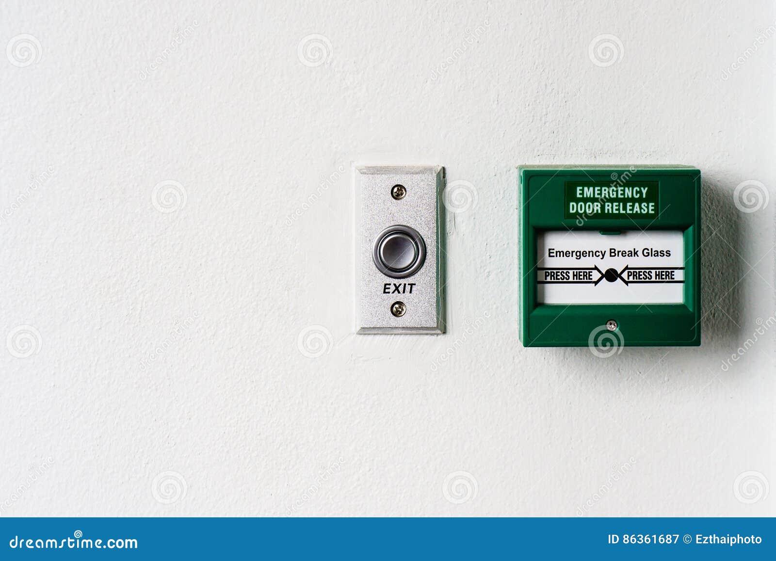 Emergency Door Release Break Point And Door Exit Button Stock Image