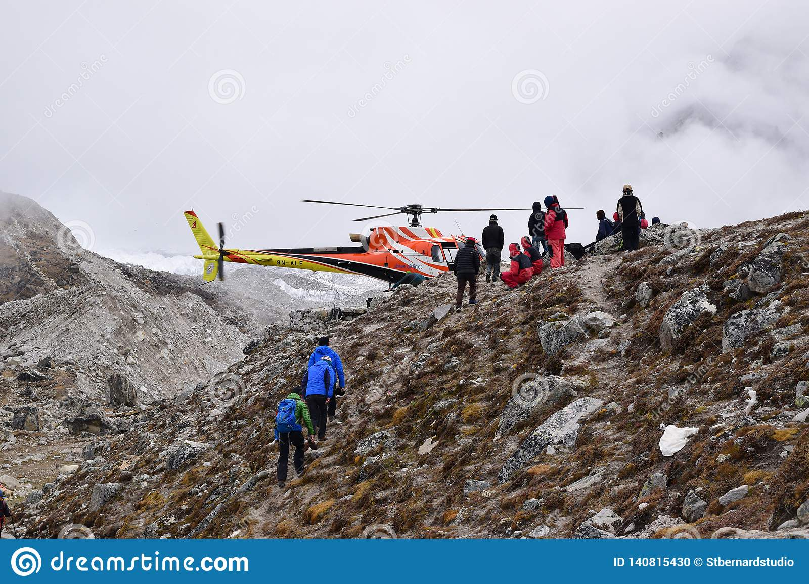 Emergency evacuation chopper helicopter for extreme weather cases at snow covered Everest Base Camp EBC, Nepal