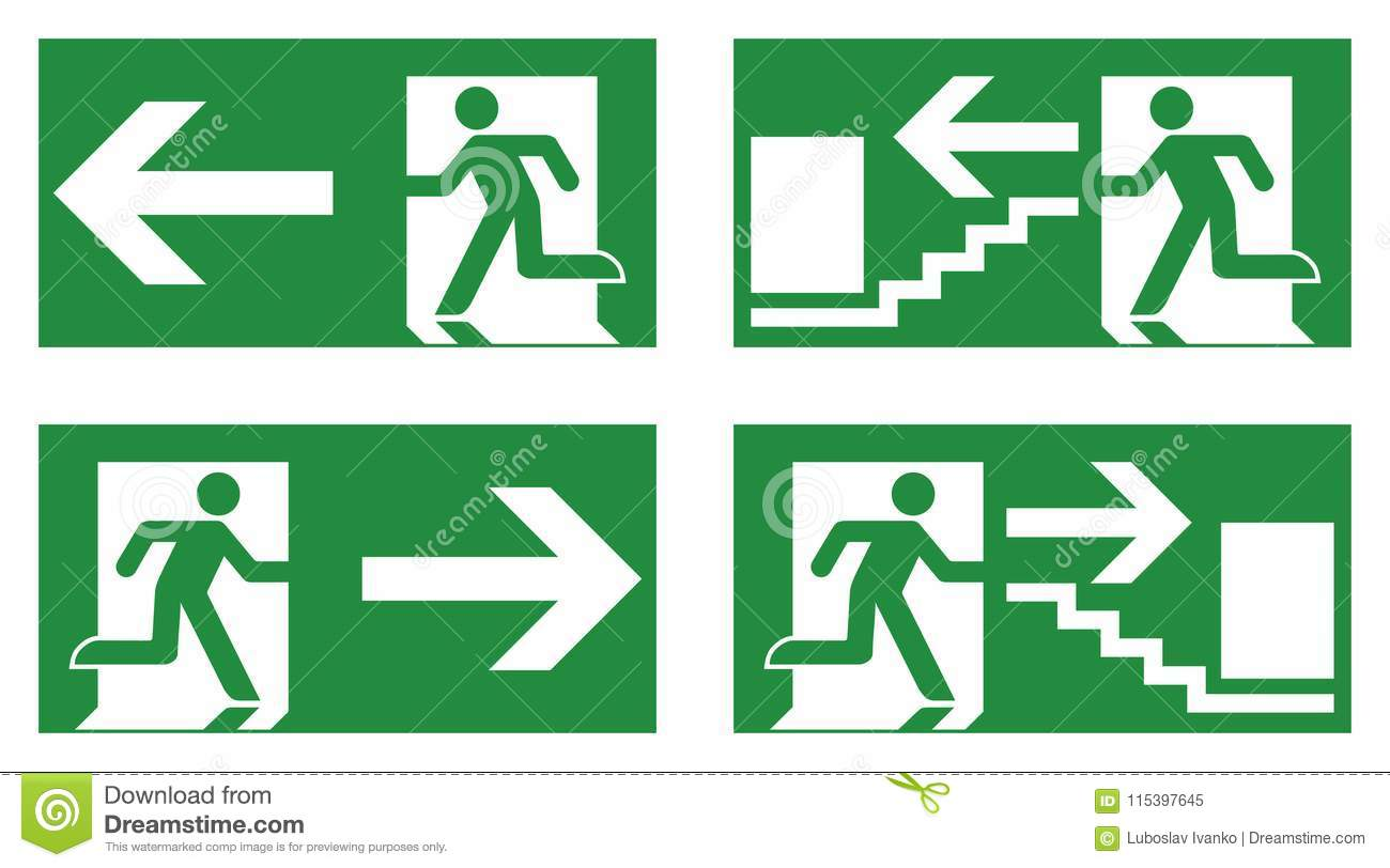 Emergency exit safety sign. White running man icon on green back