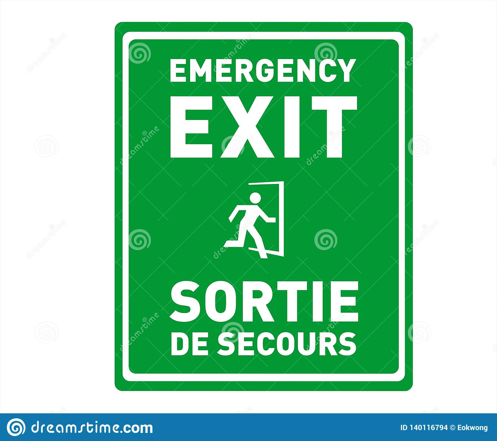 image relating to Printable Exit Signs named Crisis Exit Indication Inside of English And French - Sortie De