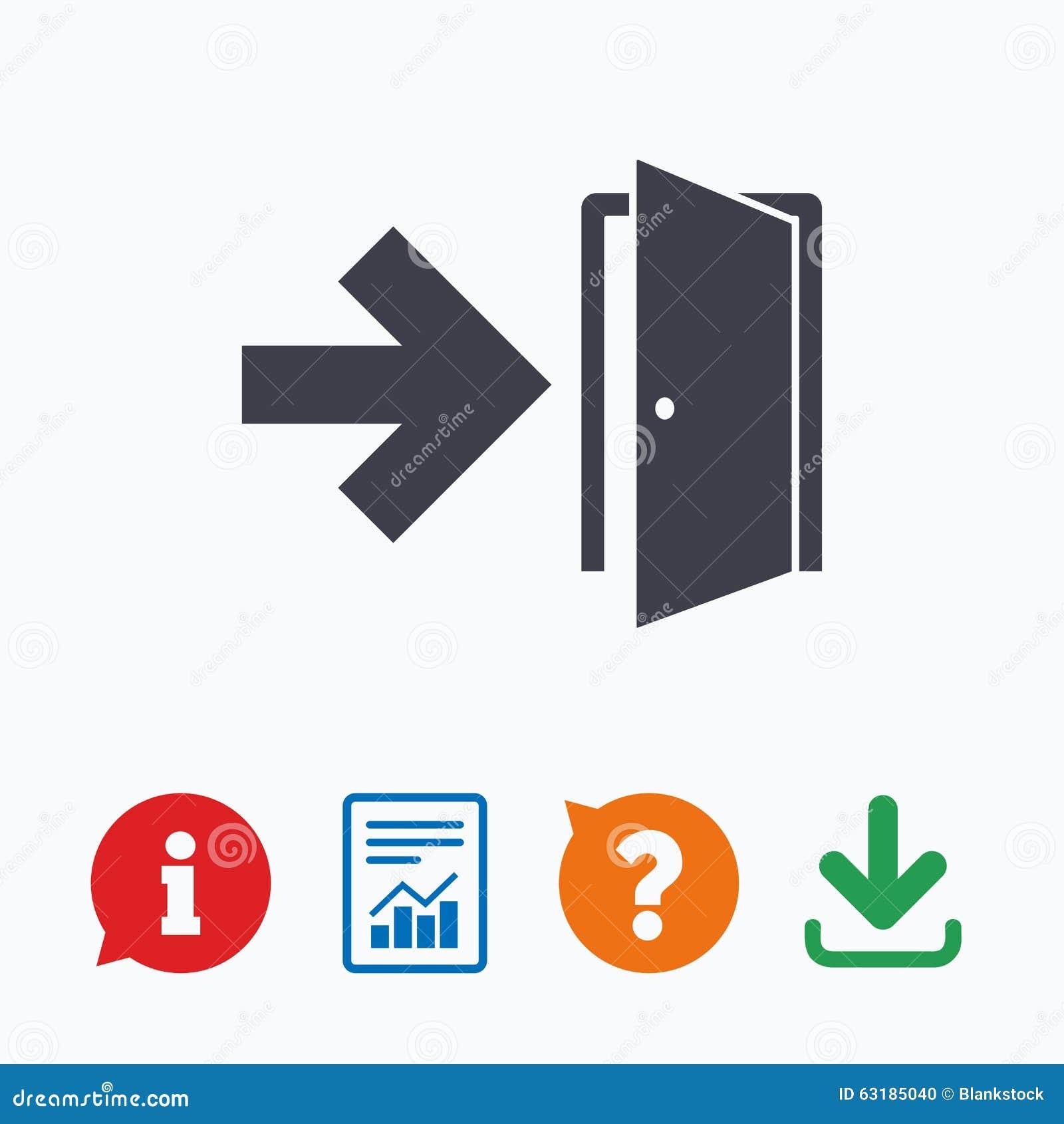 emergency exit sign icon door with right arrow stock vector