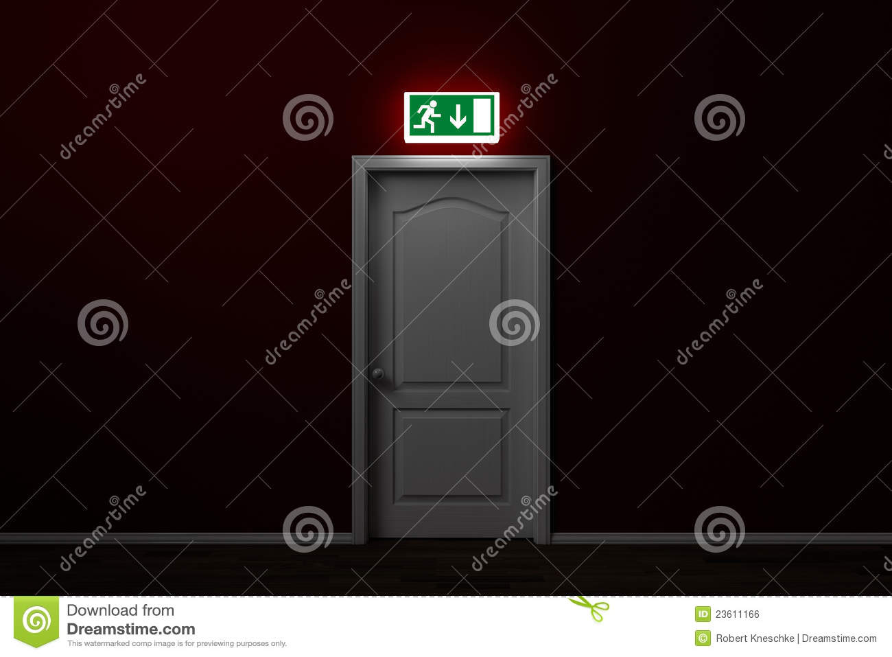 Emergency Exit With Sign Over Door Royalty Free Stock