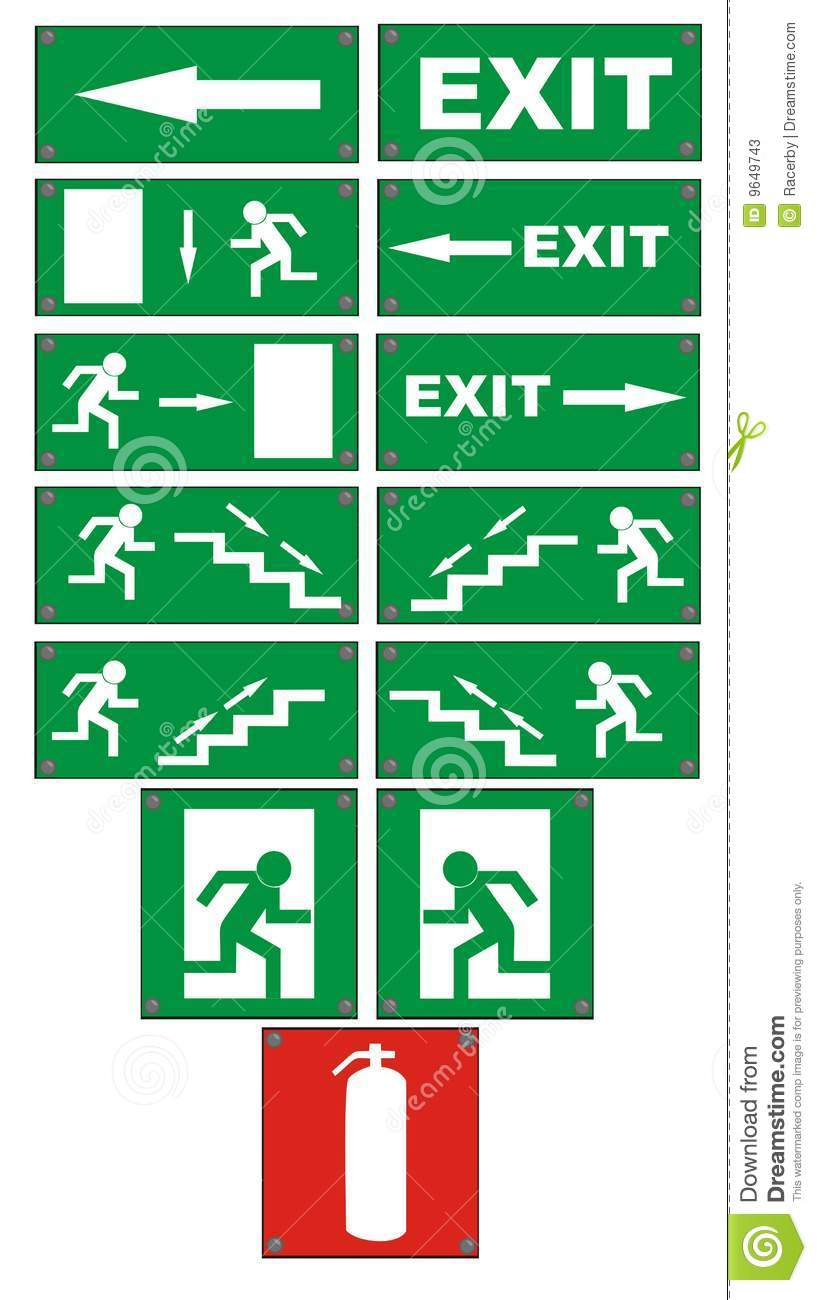 Emergency Fire Escape Signs Stock Photos Image 9649743