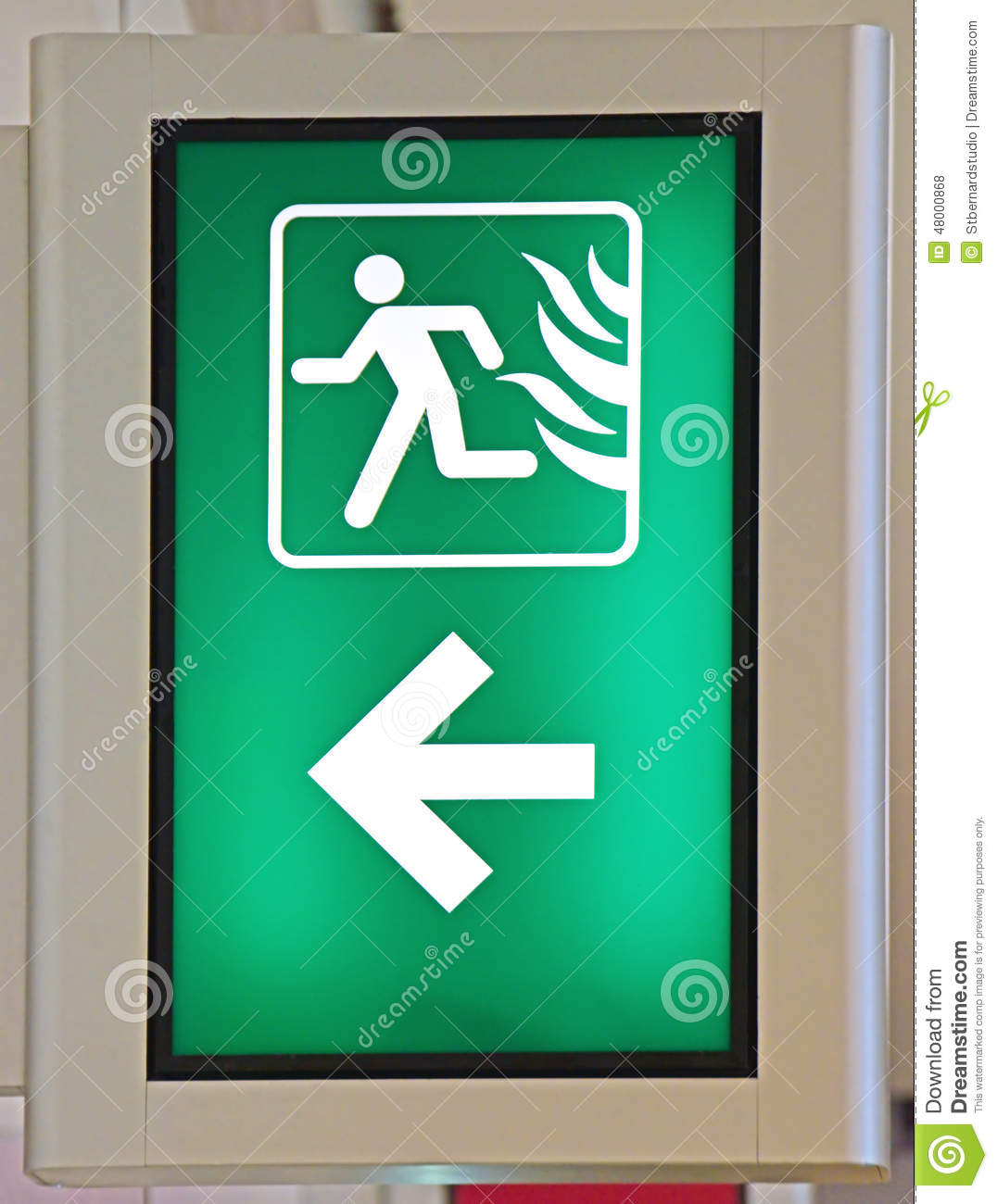Emergency Fire Exit Sign In Green Color Stock Photo - Image of ...