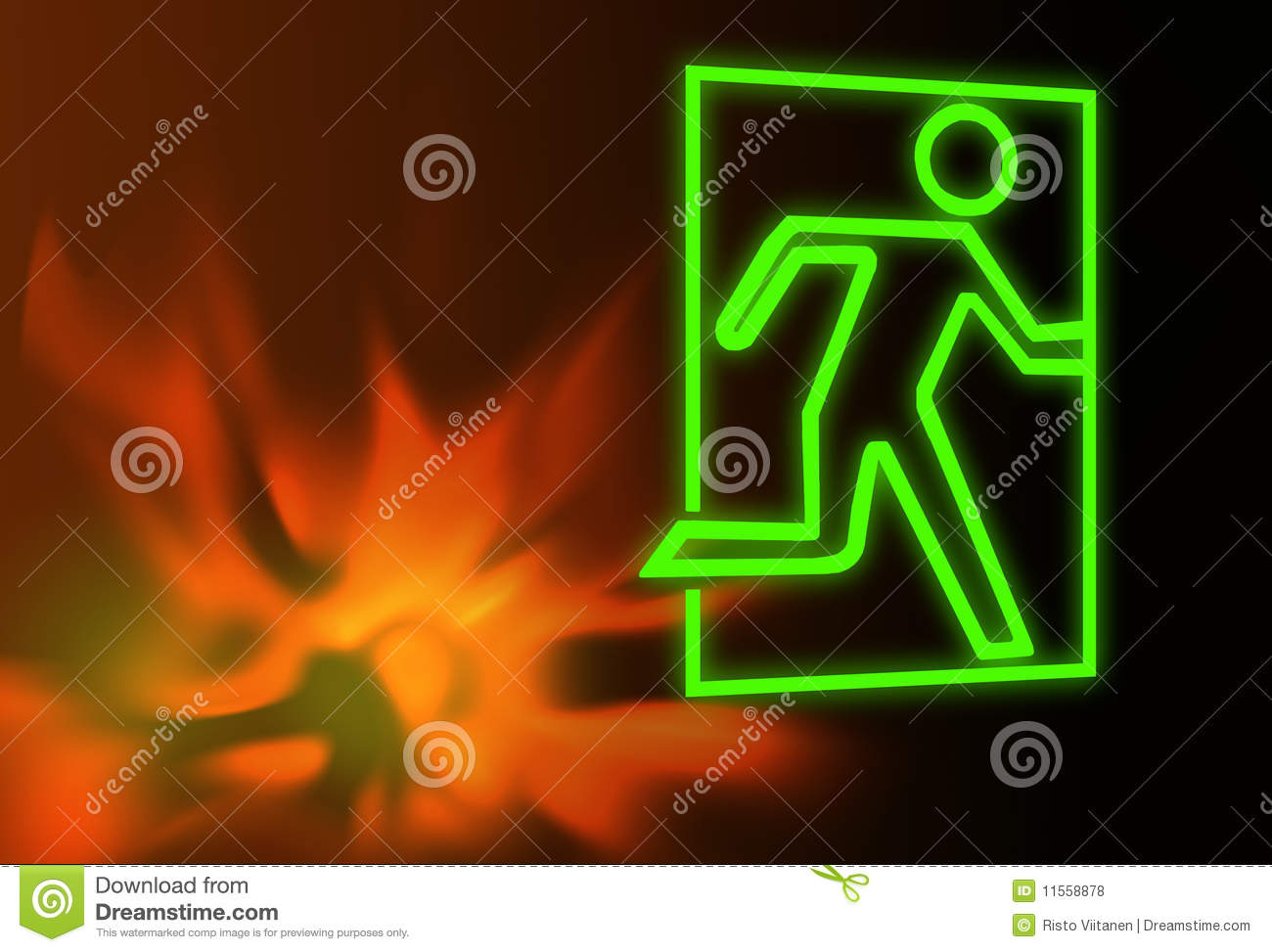 Emergency Or Fire Exit Symbol And Flames Royalty Free
