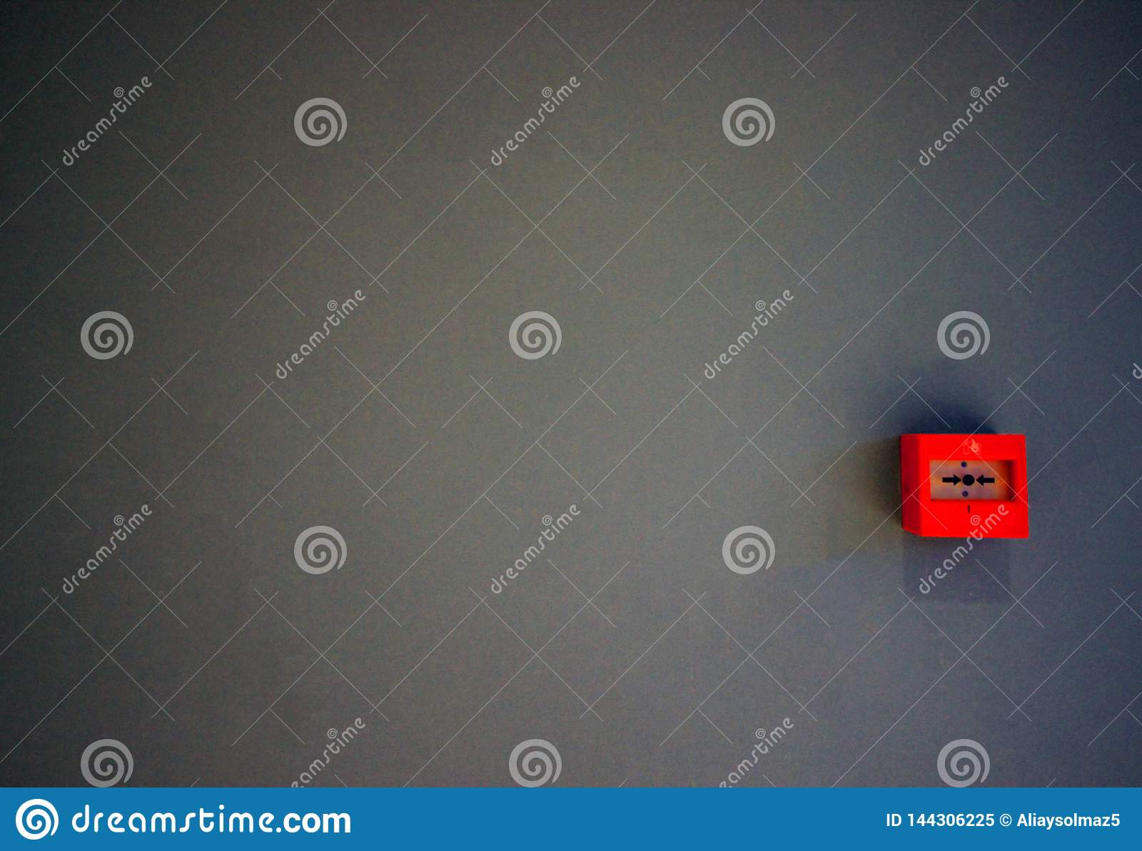 Emergency Fire Switch or Button Placed on the Grey Wall, Rescue Automation, Fire Bell