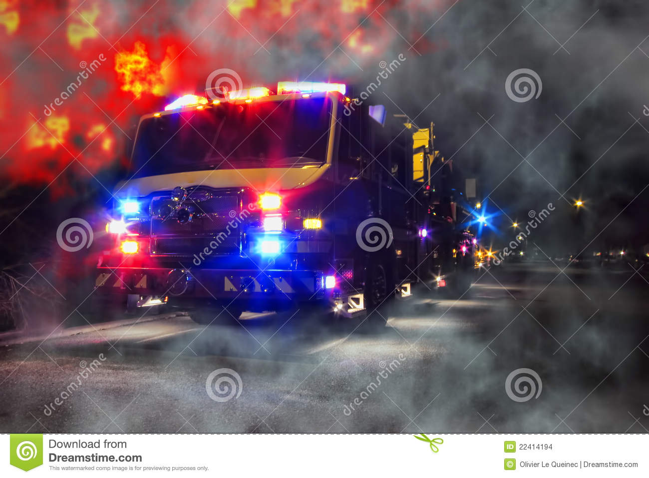 emergency firefighter truck and blaze fire flames stock. Black Bedroom Furniture Sets. Home Design Ideas