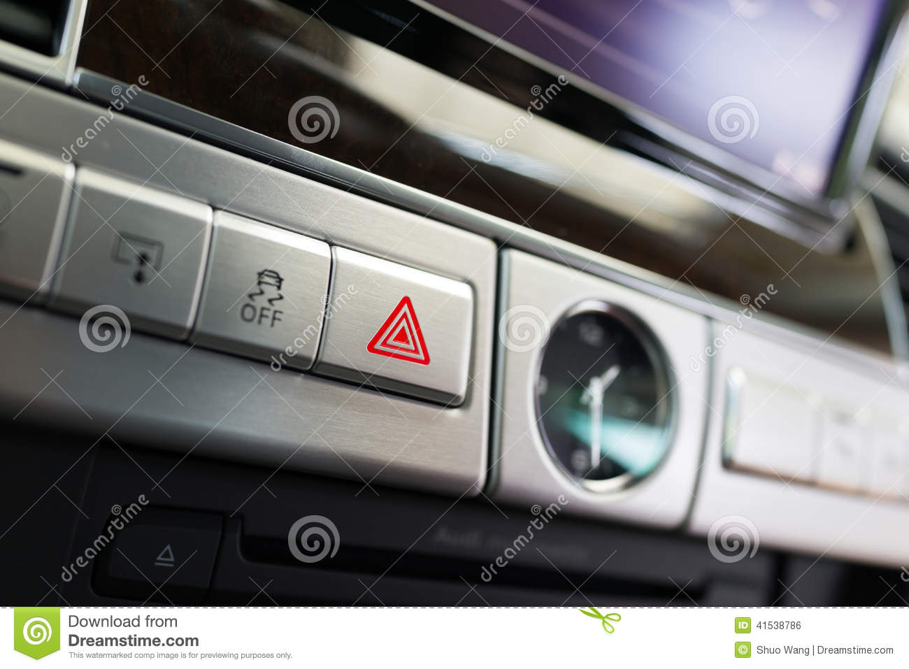 Emergency Flashers Button Stock Photo  Image Of Drive