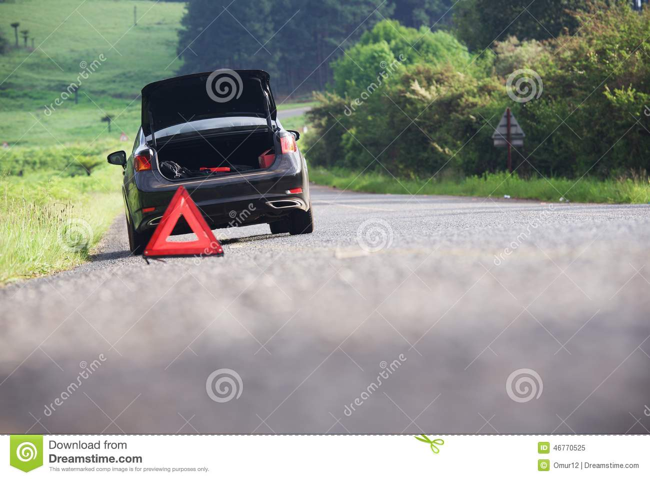Emergency Stop Car On The Road Stock Image Image 46770525