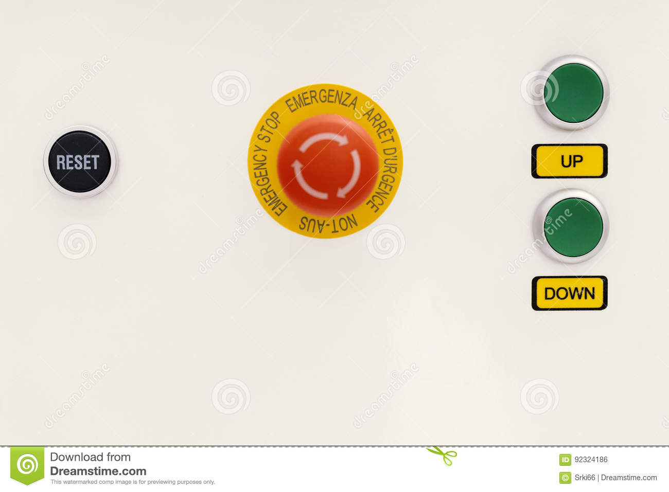 Emergency Stop Reset Up And Down Power Switch Stock Photo Image
