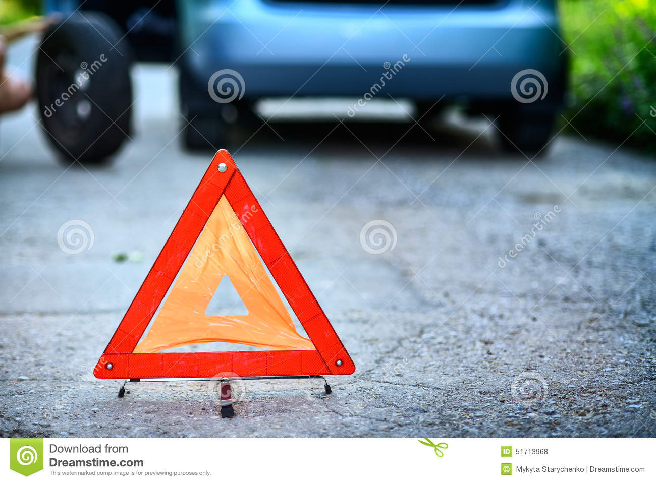 Download Emergency Stop Sign In Backround With Broken Down Car Stock Photo - Image of frustration, palm: 51713968