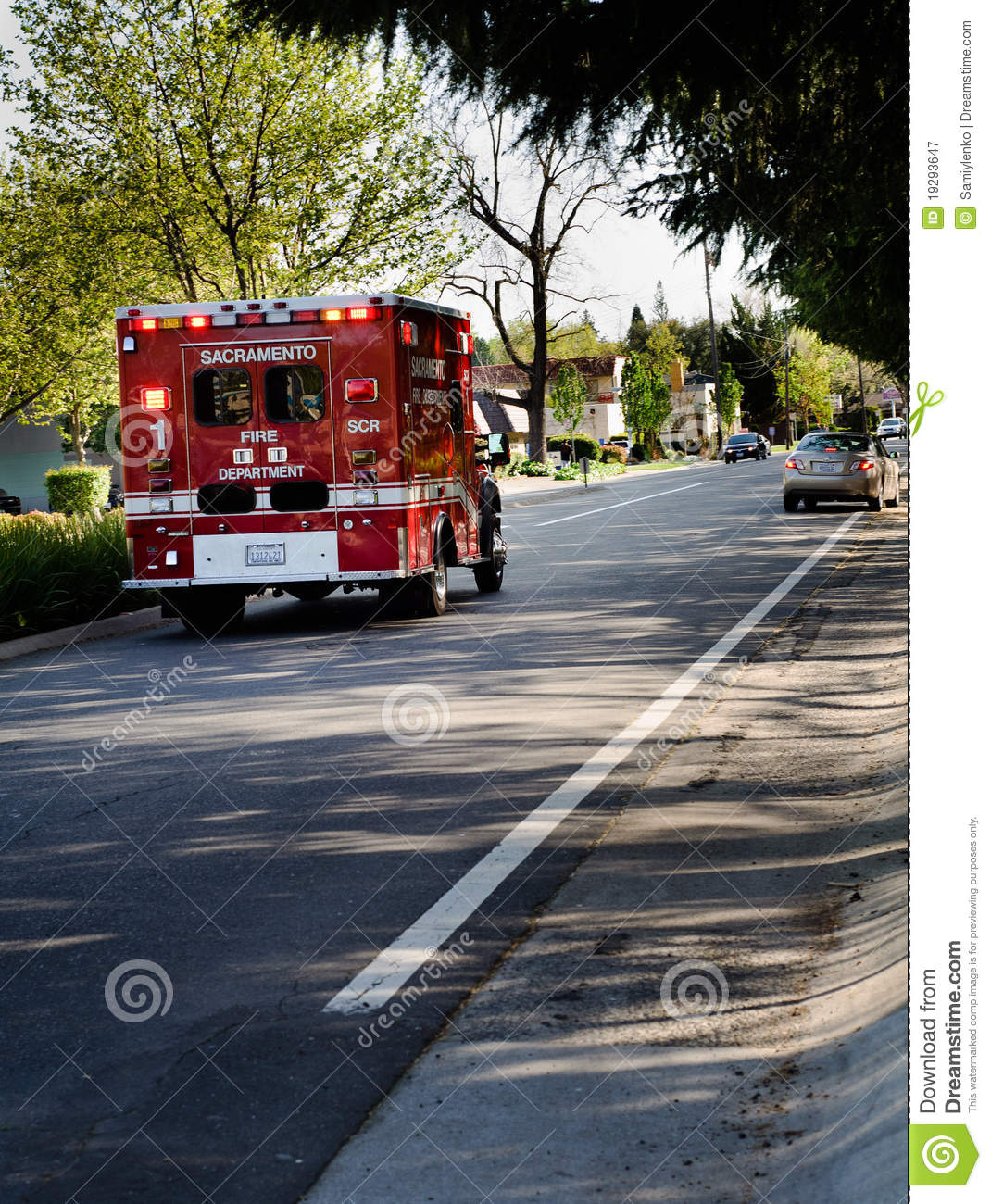 Emergency ambulance at emergency department editorial for Department of motor vehicles in sacramento