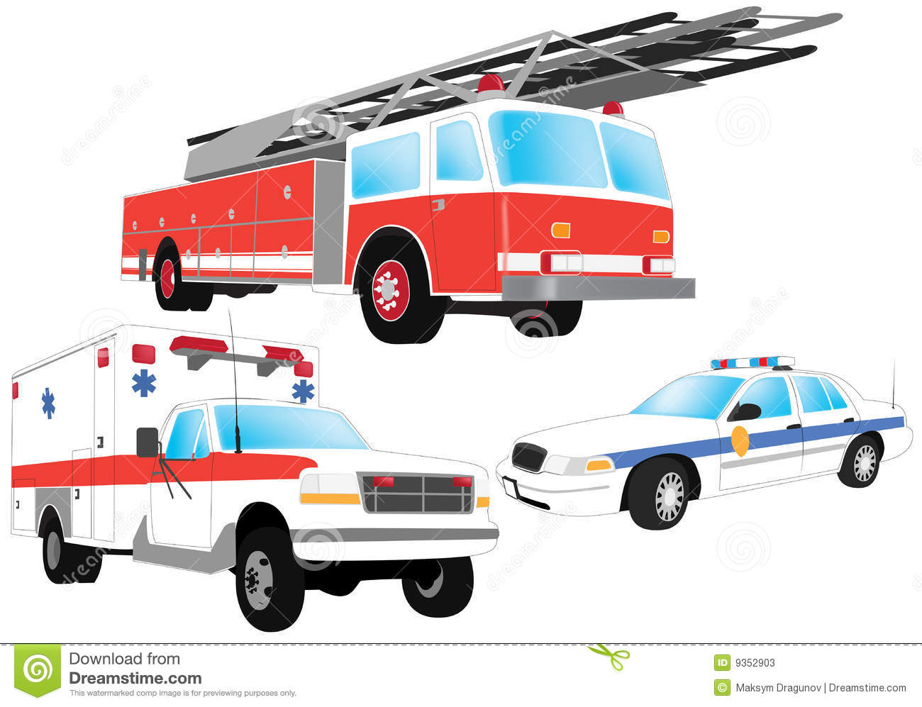 Emergency vehicles - firefighter, ambulance and police car.