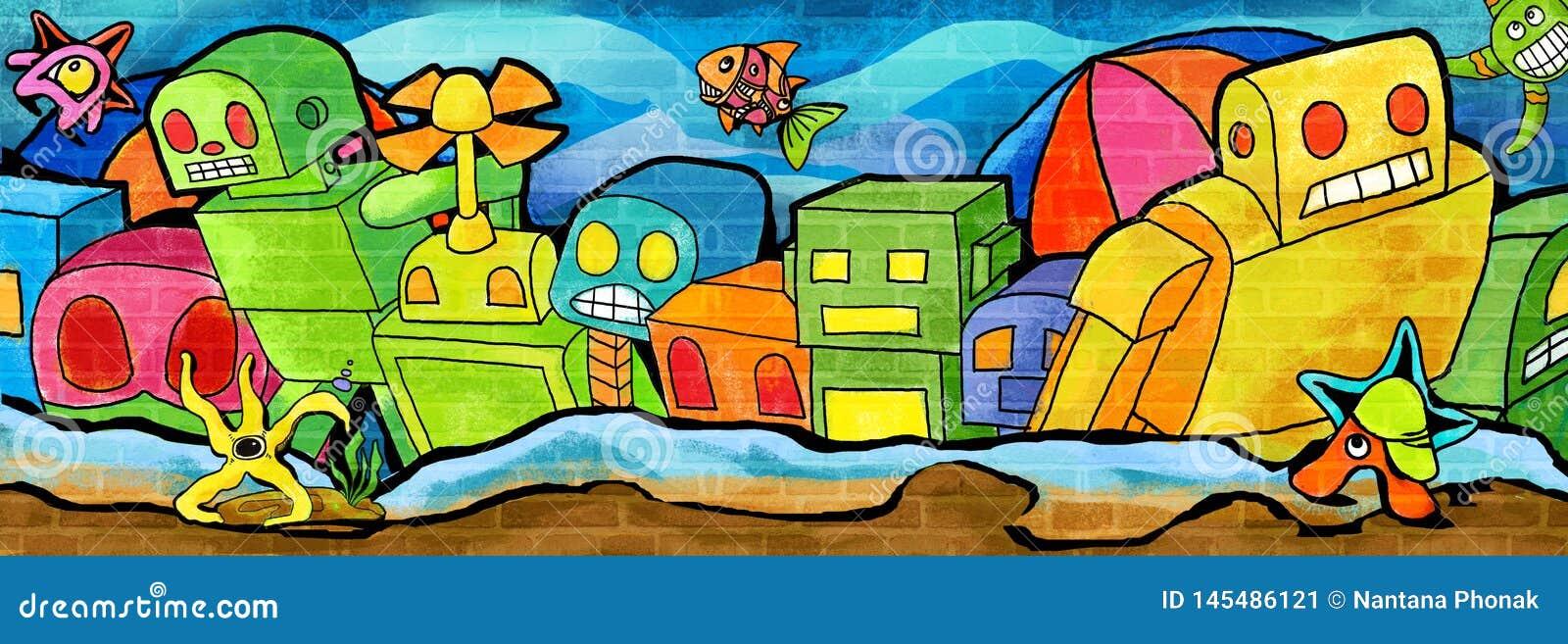 Emergido de la pared de mar la pintura colorida
