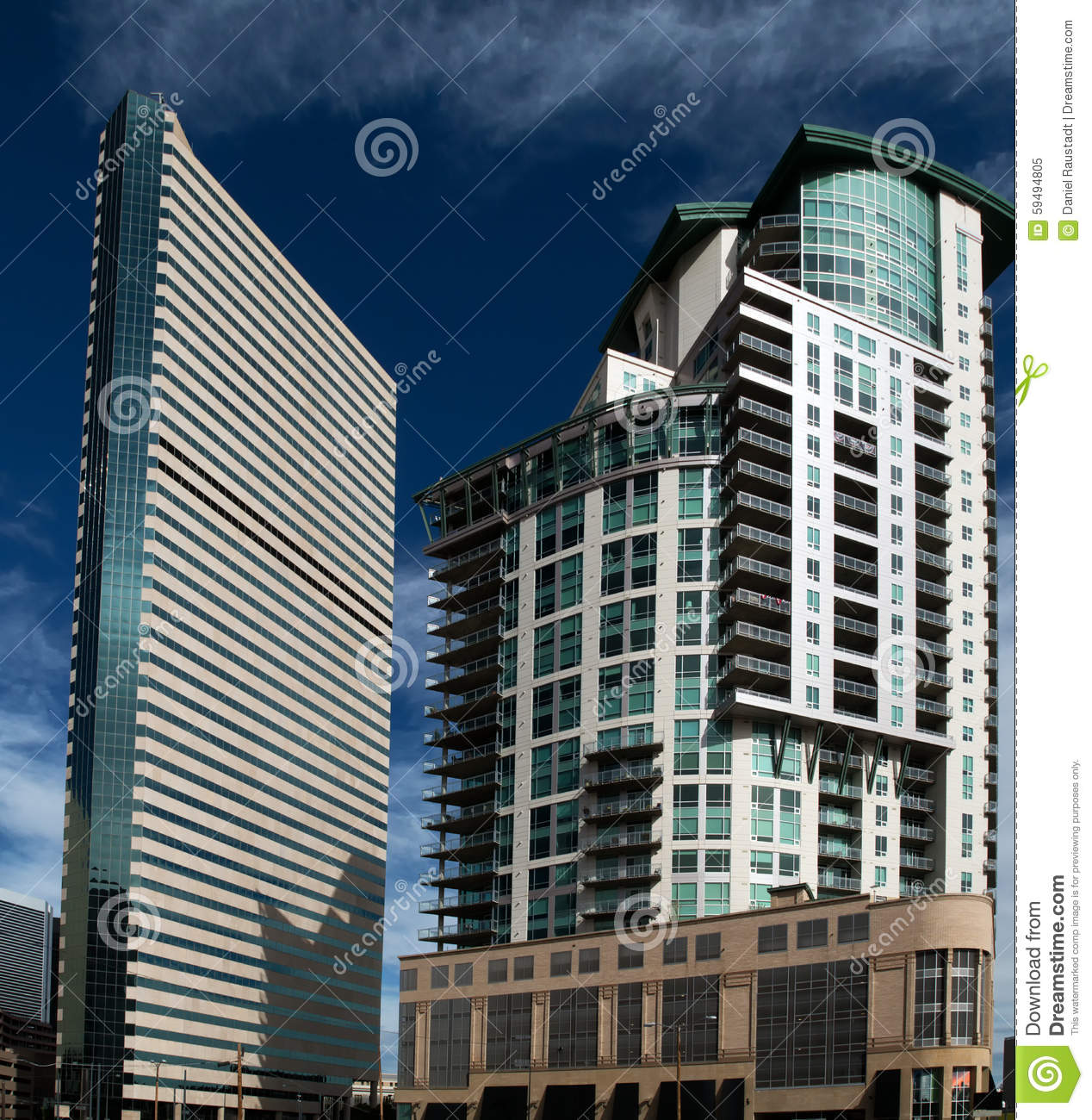 The downtown architecture of denver colorado stock photo for Modern building construction
