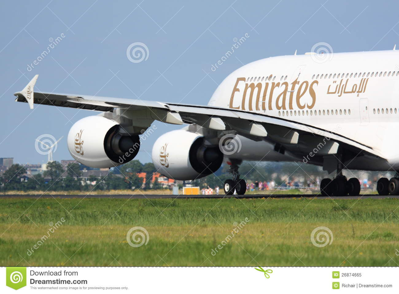 Emirates A380 takeoff editorial image  Image of taxiing