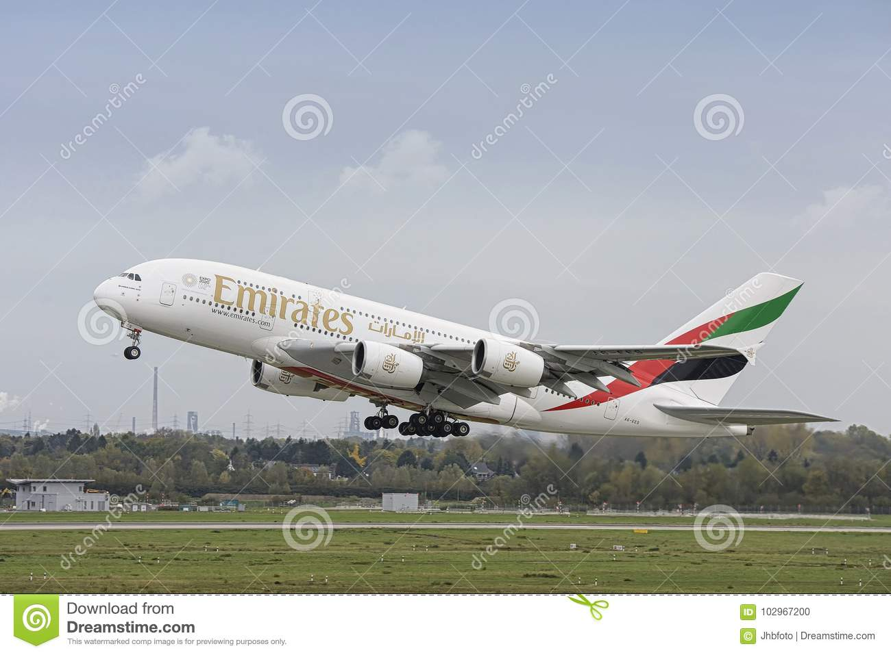 Emirates Airbus A380 Take Off Editorial Image - Image of