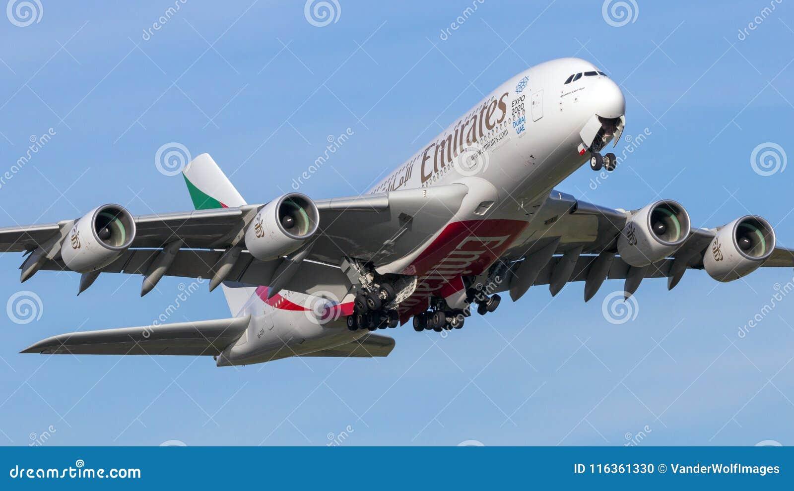 Emirates Airline Airbus A380 Passenger Plane Editorial Image