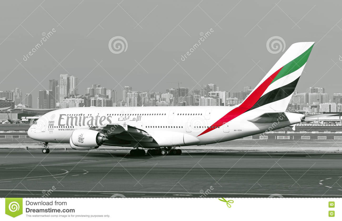 Emirates Airlines Airbus A380 Aircraft Editorial Photography