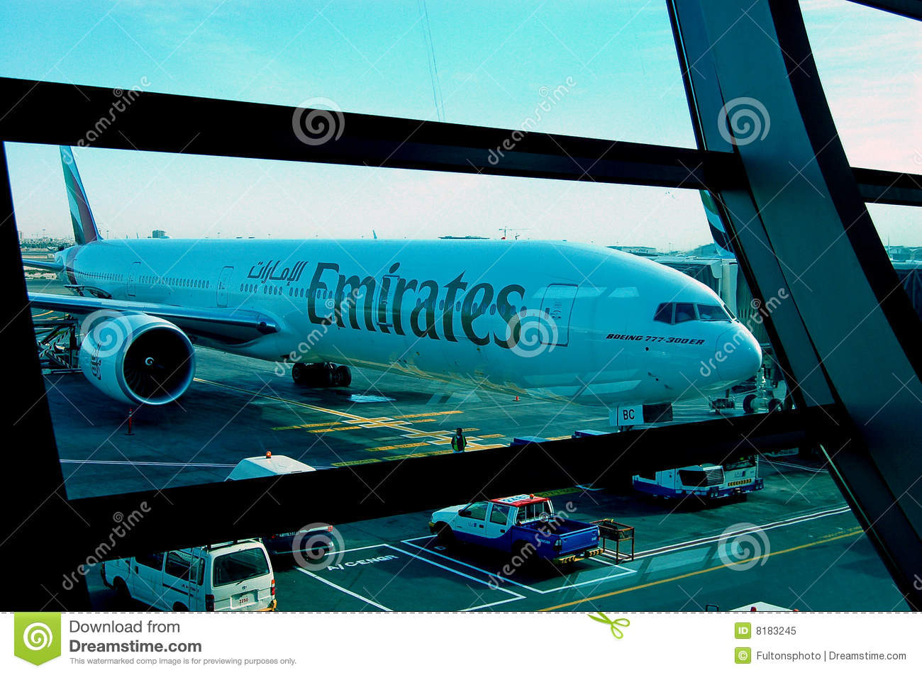 Emirates Boeing 777 300er Dubai Airport Editorial Image