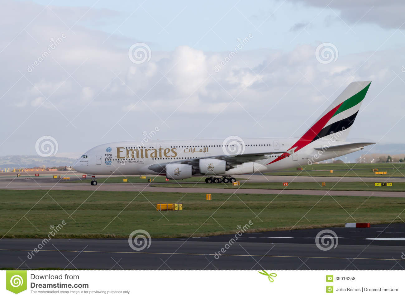 Emirates A380 taxiing on Manchester Airport runway
